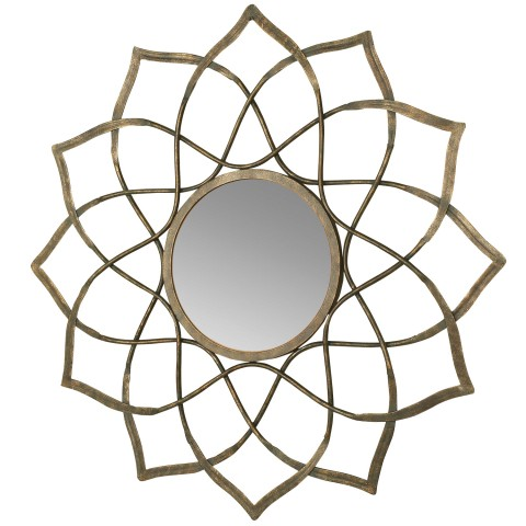 "This wall hanging mirror features a gun metal silver finish with a sunburst decorative design. Eye hook on back for easy hanging. Made in China. 32""W x ¾""D x 32""H"