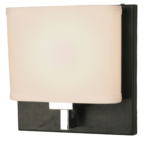 "10"" Height Leather/Chrome Finish (9×3)""T x (9×3)""B x 7""S – Cream Linen Shade PL Flourescent Socket – 13W PL Max. Hardwire"
