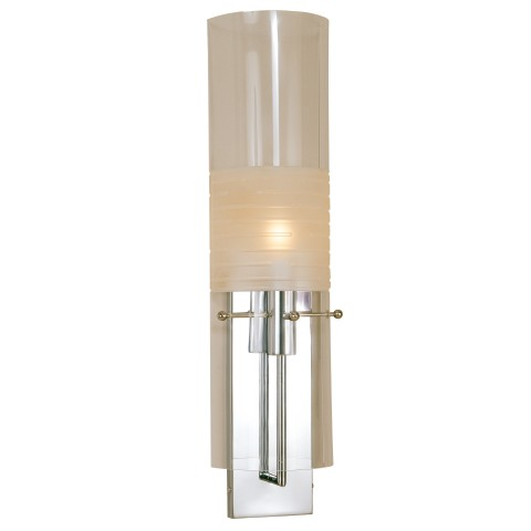 "Contemporary Wall Lamp 26"" Height Polished Chrome Finish 6.5""T x 6.5""B x 23""S – Acrylic Shade Candelabra Socket – 60W Max. Hardwire"