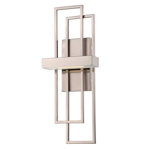 Dimensions: 7.875?W x 4?D x 20.25  Finish: Brushed Nickel Shade Material: Frosted Glass Standard Socket: LED Standard Wattage: 4.8W LED Bulb Included Cord: Hardwired