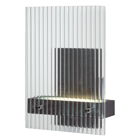 "8.25""W x 3.875""D x 11.375""H  Finish: Textured Black Shade Material: Clear Ribbed Glass Standard Socket: LED Standard Wattage: 4.8W LED Bulb Included Cord: Hardwire"